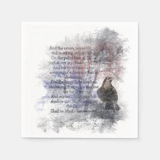 Aquarell das Raben-Edgar Allan Poe-Gedicht Papierservietten