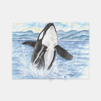 Aquarell, das Schwertwal-Wal durchbricht Fleecedecke