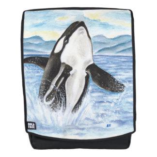 Aquarell, das Schwertwal-Wal durchbricht Rucksack
