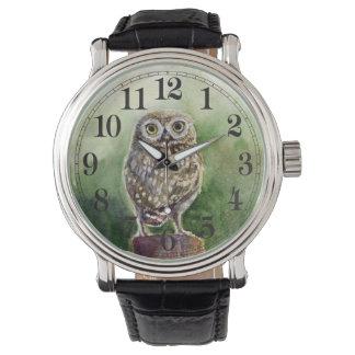 Aquarell der kleinen Eule Uhr