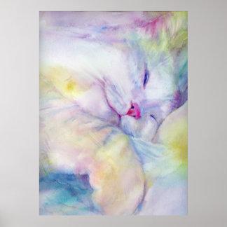 Aquarell der weißen Katze schlafend auf einem weiß Poster