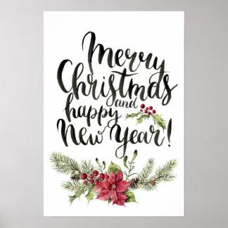 Aquarell des Weihnachten| - guten Rutsch ins Neue Poster