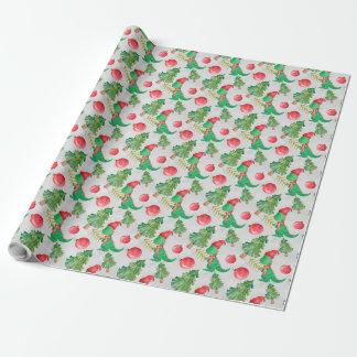 Aquarell-Dinosaurier mit einem Weihnachtsbaum Geschenkpapier