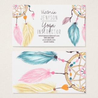 Aquarell dreamcatcher versieht Yogalehrer mit Visitenkarten