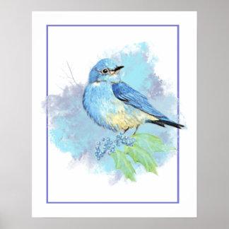 Aquarell-Drossel-Garten-Vogel-Kunst Poster