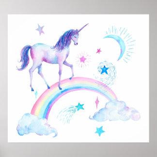 Aquarell-Einhorn und Regenbogen Poster
