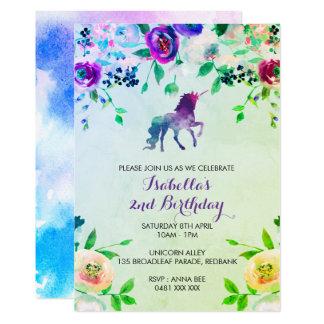 Aquarell-Einhorngeburtstags-Mädcheneinladung 12,7 X 17,8 Cm Einladungskarte