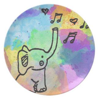 Aquarell-Elefant 1 Teller