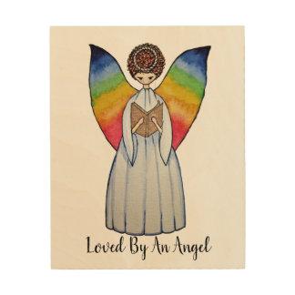 Aquarell-Engel mit Regenbogen Wings, ein Buch Holzleinwand