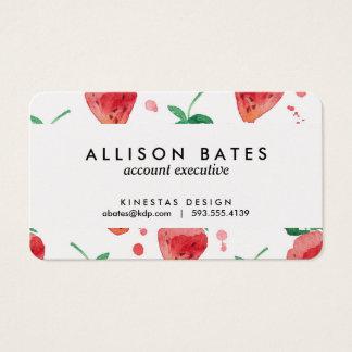 Aquarell-Erdbeeren Rosa u. Rot gemalte Beeren Visitenkarten