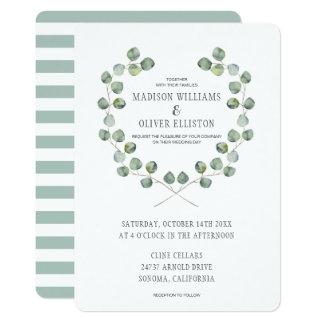 Aquarell-Eukalyptus-Blatt-Spant Wedding | Karte