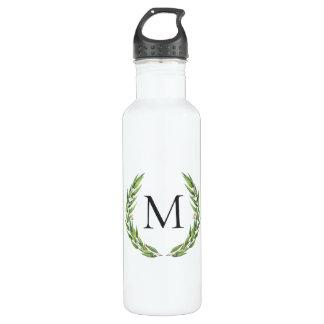 Aquarell-Eukalyptus-Kranz-Monogramm-Wasser-Flasche Edelstahlflasche