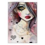 Aquarell-Fantasie-Kunst-Mädchen und Herzen Grußkarte