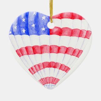 Aquarell-Flagge-Luft-Ballon Keramik Herz-Ornament