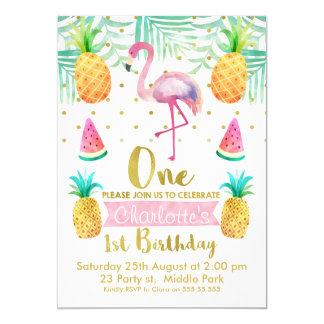 Aquarell-Flamingo-1. Geburtstags-Einladung Karte