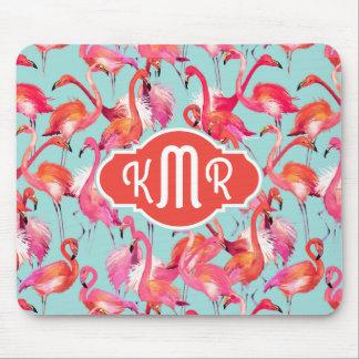 Aquarell-Flamingos erfassten | Monogramm Mauspad