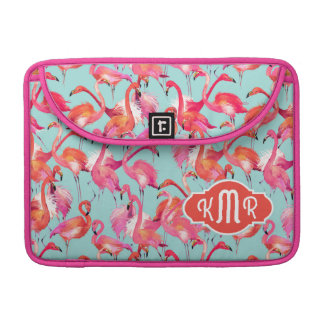 Aquarell-Flamingos erfassten | Monogramm Sleeve Für MacBook Pro