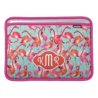 Aquarell-Flamingos erfassten | Monogramm Sleeve Fürs MacBook Air