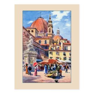Aquarell-Florenz-Marktplatz San Lorenzo Postkarten