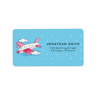 Aquarell-Flugzeug-Reise-Aufkleber Adressaufkleber