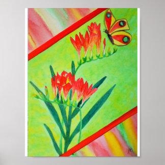 Aquarell-Freesias und Schmetterling Poster