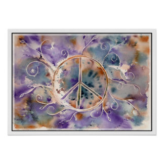 Aquarell-Friedenszeichen Plakat