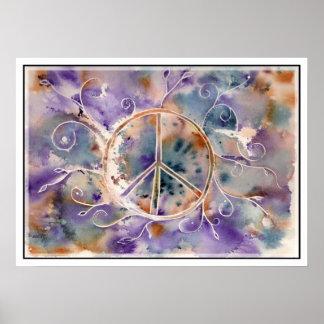 Aquarell-Friedenszeichen Poster