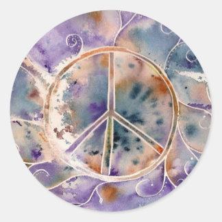 Aquarell-Friedenszeichen Runder Aufkleber