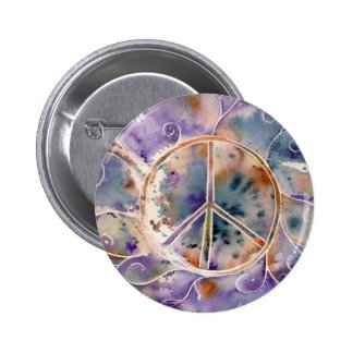 Aquarell-Friedenszeichen Runder Button 5,1 Cm