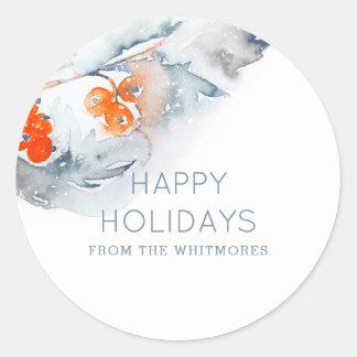 Aquarell frohe Feiertage Runder Aufkleber