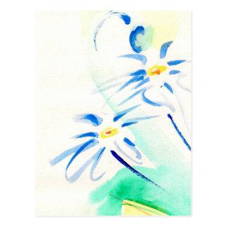 Aquarell-Gänseblümchen-Postkarte