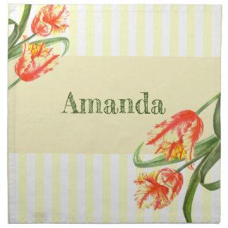 Aquarell-gelbe Papageien-Tulpe-Blumenkunst Stoffserviette