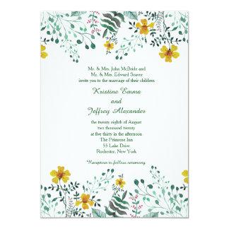 Aquarell-gelbe Primel-Garten-Hochzeit Karte