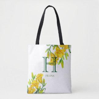 Aquarell-gelbes Tageslilien-Blumenmonogramm Tasche