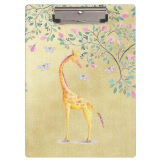 Aquarell-Giraffen-Schmetterlinge und Blüte Klemmbrett