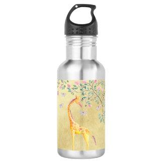 Aquarell-Giraffen-Schmetterlinge und Blüte Trinkflasche