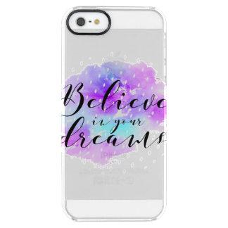 Aquarell glauben an Ihr Traum-Zitat Durchsichtige iPhone SE/5/5s Hülle