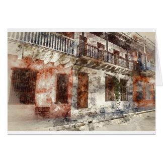 Aquarell-Grafik Cartagenas Kolumbien Karte