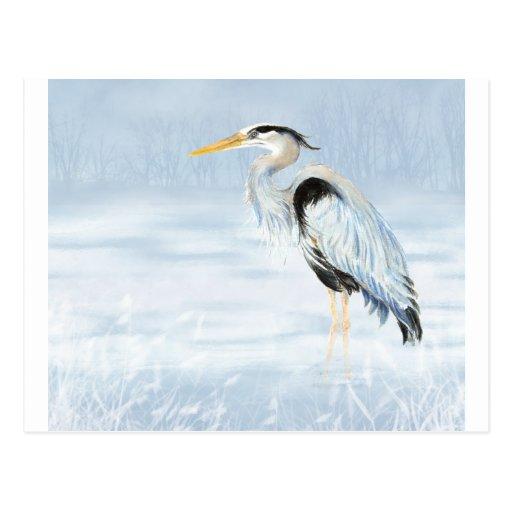 Aquarell-Graureiher-Vogelnaturwild lebende tiere Postkarte