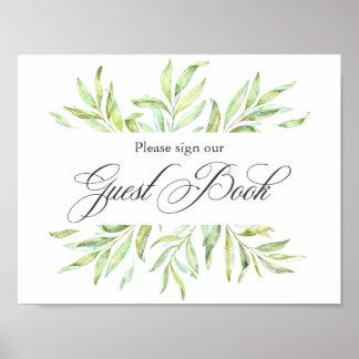 Aquarell-Grün-Hochzeits-Gast-BuchSignage Poster