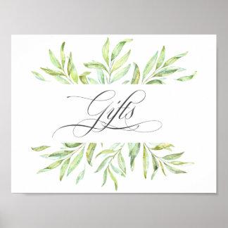 Aquarell-Grün-Hochzeits-GeschenkeSignage Poster