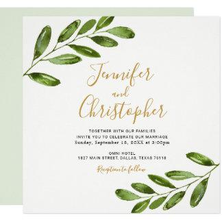 Aquarell-Grün quadrieren Hochzeits-Einladungen Karte