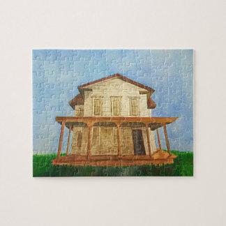 Aquarell-Haus-Puzzlespiel Puzzle