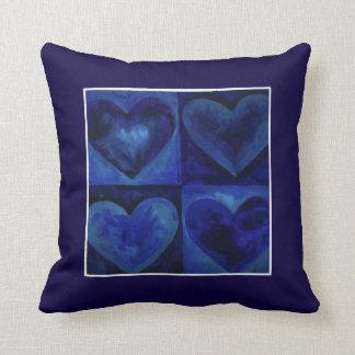 Aquarell-Herz-Marine-Königsblau-Herz-Kunst-Kissen Kissen