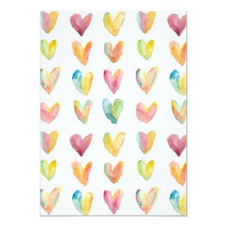 Aquarell-Herz-Muster Ankündigungskarte