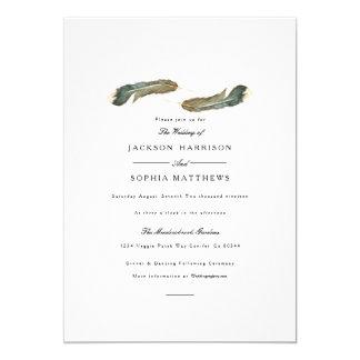 Aquarell-Hochzeit des Feder-Duo-| laden ein Karte