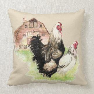 Aquarell-Hühner Henne u. Hahn-Bauernhof-Vögel Kissen