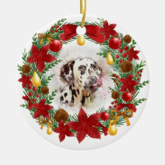 Aquarell-Hundeweihnachtsverzierung Keramik Ornament