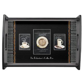 Aquarell-Kaffee-Kunst-Tafel-Kreide-Typografie Serviertablett