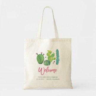 Aquarell-Kaktus-Hochzeits-Tasche Tragetasche